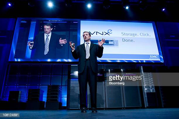 Pat Gelsinger president and chief operating officer of EMC Corp speaks during a media event in New York US on Tuesday Jan 18 2011 EMC today...