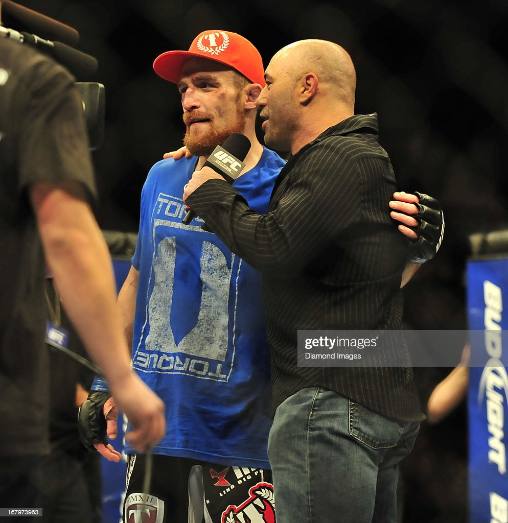 Pat Healy is interviewed by commentator Joe Rogan after a lightweight bout during UFC 159 Jones v. Sonnen at Prudential Center in Newark, New Jersey.