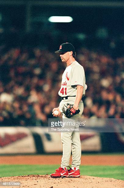 Pat Hentgen of the St Louis Cardinals pitches during Game Five of the National League Division Series against the New York Mets on October 16 2000 at...
