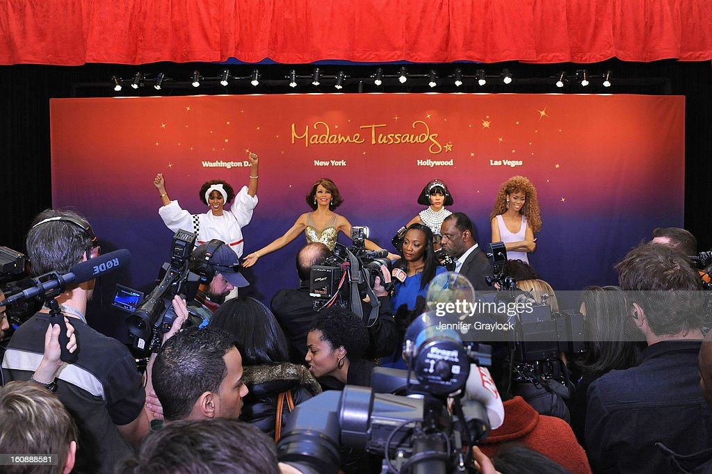 Pat Houston and Gary Houston attend as Madame Tussauds unveils four wax figures of Whitney Houston-- the first time four figures of the same individual have been simultaneously released-- on February 7, 2013 in New York City.