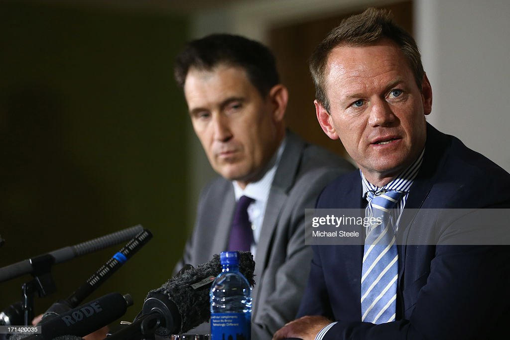 Pat Howard (R) Executive general manager of team performance and James Sutherland (L) the CEO of cricket Australia address the media during a Australia cricket press conference following the sacking of head coach Mickey Arthur on June 24, 2013 in Bristol, England.