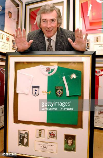Pat Jennings the former Tottenham Hotspur and Northern Ireland goalkeeper with a football shirt with both club and country joined together for...