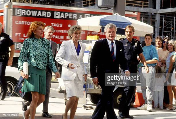 Pat Kennedy Lawford Eunice Kennedy Shriver and Ted Kennedy attend the William Kennedy Smith Rape Trial circa 1991 in West Palm Beach Florida