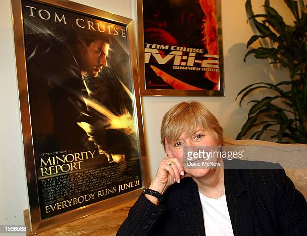Pat Kingsley founder of public relations powerhouse PKG which represents Tom Cruise among others poses next to a movie poster Minority Report which...