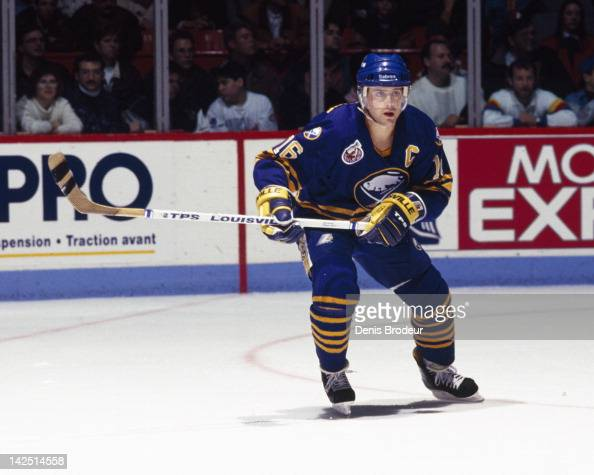 Pat Lafontaine of the Buffalo Sabres skates against the Montreal Canadiens Circa 1990 at the Montreal Forum in Montreal Quebec Canada