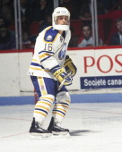 Pat Lafontaine of the Buffalo Sabres skates at the Montreal Forum in Montreal Quebec Canada