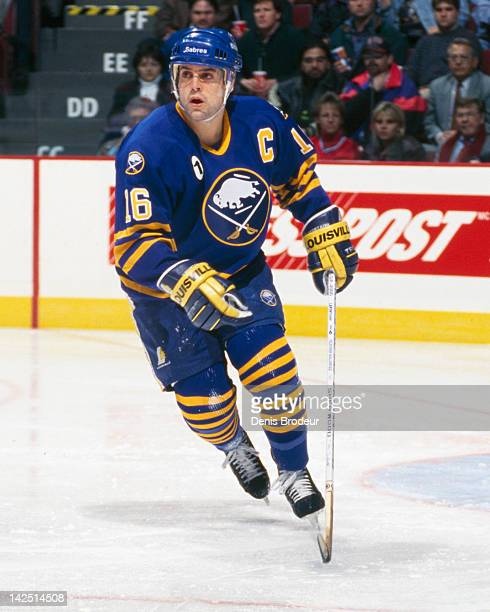 Pat Lafontaine of the Buffalo Sabres skates Circa 1990 at the Montreal Forum in Montreal Quebec Canada