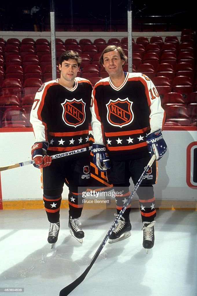 Pat LaFontaine of the New York Islanders and Guy Lafleur of the Quebec Nordiques and both from the Wales Conference pose for a portrait before the...