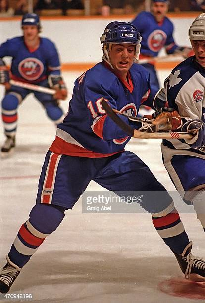 Pat Lafontaine of the New York Islanders battles for space against the Toronto Maple Leafs during game action at Maple Leaf Gardens in Toronto...