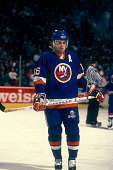Pat LaFontaine of the New York Islanders looks on during a hockey game against the Washington Capitals on March 20 1990 at the Capital Centre in...