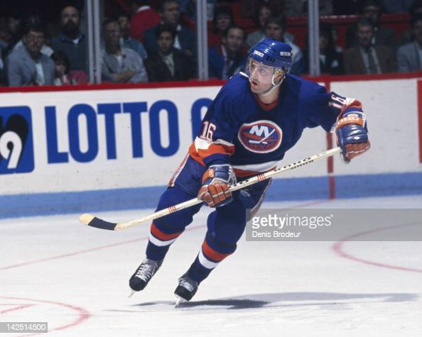 Pat Lafontaine of the New York Islanders skates Circa 1980 at the Montreal Forum in Montreal Quebec Canada