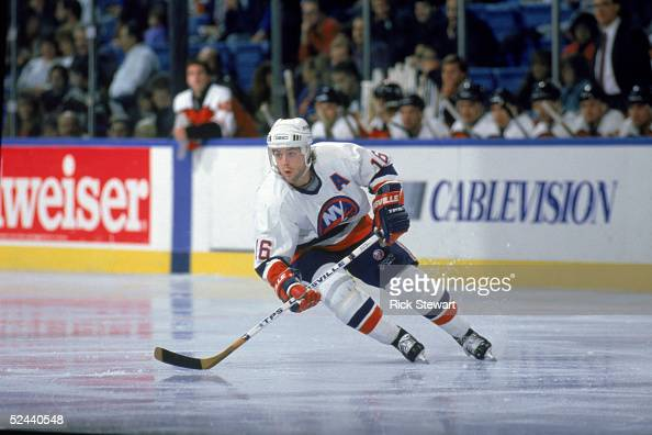 Pat Lafontaine of the New York Islanders skates during a game against the Philadelphia Flyers in 1990 at the Spectrum in Philadelphia Pennsylvania