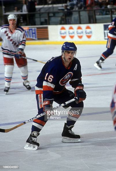 Pat Lafontaine of the New York Islanders skates on the ice against the New York Rangers on March 24 1991 at the Madison Square Garden in New York New...