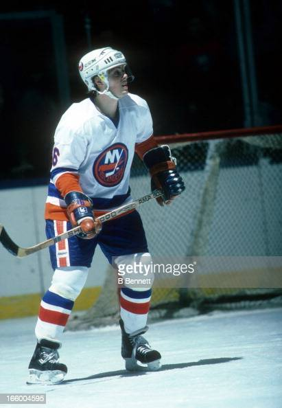 Pat Lafontaine of the New York Islanders skates on the ice during an NHL game in March 1984 at the Nassau Coliseum in Uniondale New York
