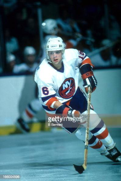 Pat Lafontaine of the New York Islanders skates on the ice during an NHL game circa 1987 at the Nassau Coliseum in Uniondale New York