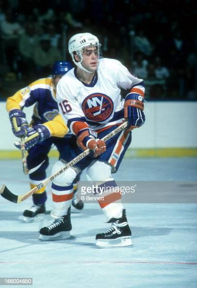 Pat Lafontaine of the New York Islanders skates on the ice during an NHL game against the Los Angeles Kings on October 29 1985 at the Nassau Coliseum...