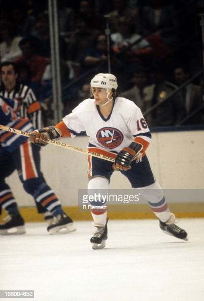 Pat Lafontaine of the New York Islanders skates on the ice during the 1984 Stanley Cup Finals against the Edmonton Oilers in May 1984 at the Nassau...