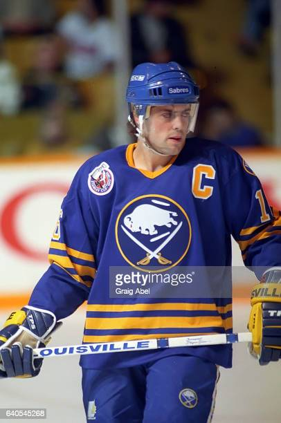 Pat Lafontaine of the the Buffalo Sabres prepares for the faceoff against the Toronto Maple Leafs on October 28 1992 at Maple Leaf Gardens in Toronto...