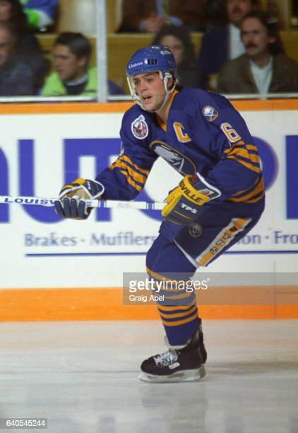 Pat Lafontaine of the the Buffalo Sabres turns up ice against the Toronto Maple Leafs on October 28 1992 at Maple Leaf Gardens in Toronto Ontario...