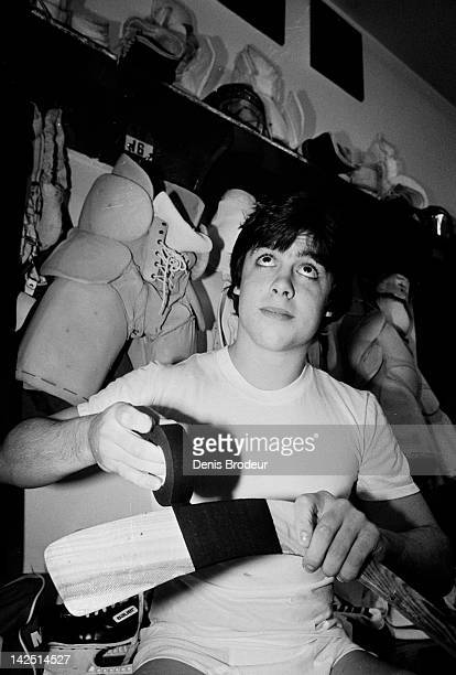 Pat Lafontaine of the Verdun Juniors tapes his stick before a game at the Verdun Auditorium in Montreal Quebec Canada