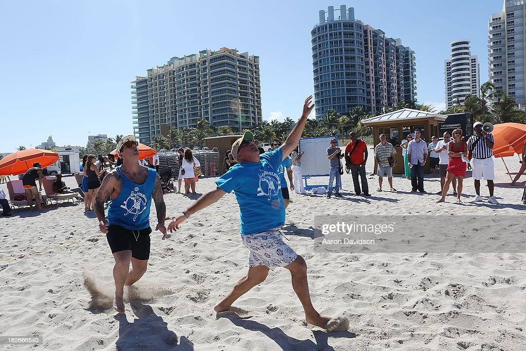 Pat LaFrieda and Andrew Zimmern participates in Let's Get Spiked Volleyball Game during the 2013 South Beach Wine And Food Festival on February 22...