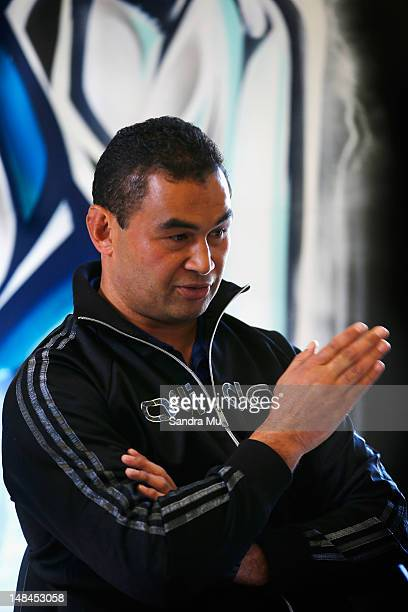 Pat Lam former Auckland Blues coach speaks to media representatives at Unitec on July 17 2012 in Auckland New Zealand The Blues announce their new...