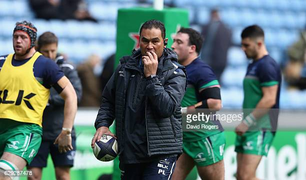 Pat Lam the Connacht director of rugby looks on during the European Champions Cup match between Wasps and Connacht at the Ricoh Arena on December 11...