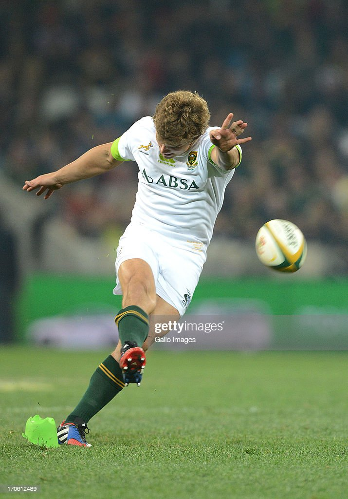Pat Lambie of South Africa converts a kick at goal during the Castle Larger Incoming Tour match between South Africa and Scotland at Mbombela Stadium on June 15, 2013 in Nelspruit, South Africa.