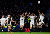 Pat Lambie of South Africa kicks a drop goal during the QBE Intenational match between England and South Africa at Twickenham Stadium on November 15...