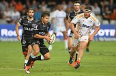 Pat Lambie of the Cell C Sharks in action during the Super Rugby match between Cell C Sharks and Chiefs at Growthpoint Kings Park on March 21 2015 in...