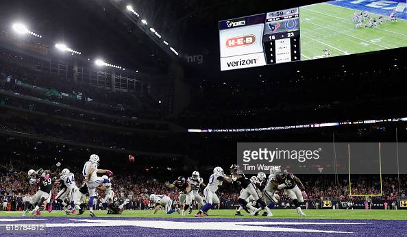 Pat McAfee of the Indianapolis Colts punts the ball near the end zone in the fourth quarter during the NFL game between the Indianapolis Colts and...