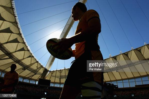 Pat McCabe of the Wallabies arrives for an Australian Wallabies training session at the Moses Mabhida Stadium on August 10 2011 in Durban South Africa