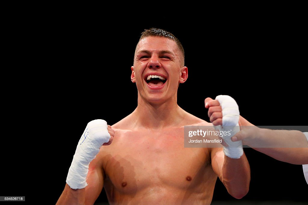Pat McCormack of British Lionhearts celebrates his win against Samat Bashenov of Astana Arlans in the semi-final of the World Series of Boxing between the British Lionhearts and Kazakhstan at York Hall on May 26, 2016 in London, England.