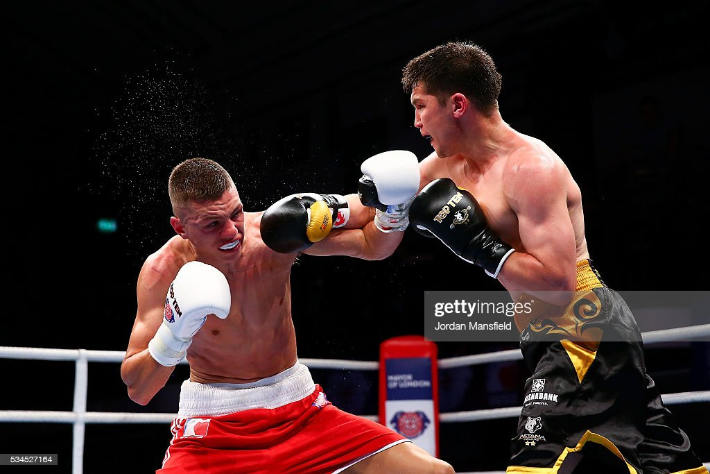 Pat McCormack of British Lionhearts (L) in action against Samat Bashenov of Astana Arlans (R) in the semi-final of the World Series of Boxing between the British Lionhearts and Kazakhstan at York Hall on May 26, 2016 in London, England.