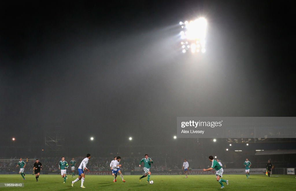 Pat McCourt of Northern Ireland runs with the ball during the FIFA 2014 World Cup Group F Qualifying match between Northern Ireland and Azerbaijan at Windsor Park on November 14, 2012 in Belfast, Northern Ireland.