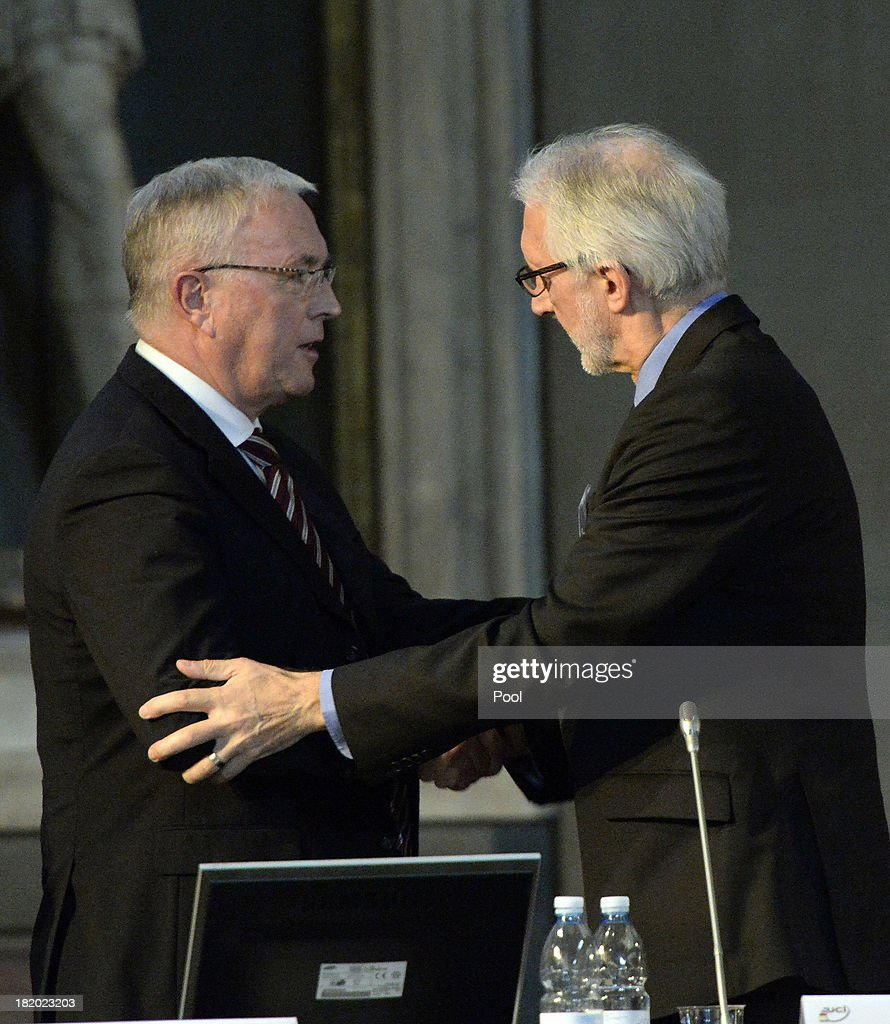 <a gi-track='captionPersonalityLinkClicked' href=/galleries/search?phrase=Pat+McQuaid&family=editorial&specificpeople=873831 ng-click='$event.stopPropagation()'>Pat McQuaid</a> (L) and Brian Cookson attend the UCI Congress at Palazzo Vecchio on September 27, 2013 in Florence, Italy.