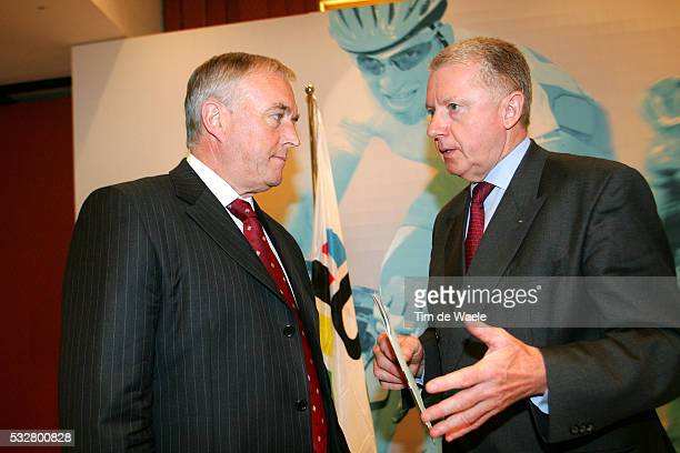 Pat McQuaid of Ireland new president of the world's cycling governing body and Hein Verbruggen at the 174th congress of the International Cycling...