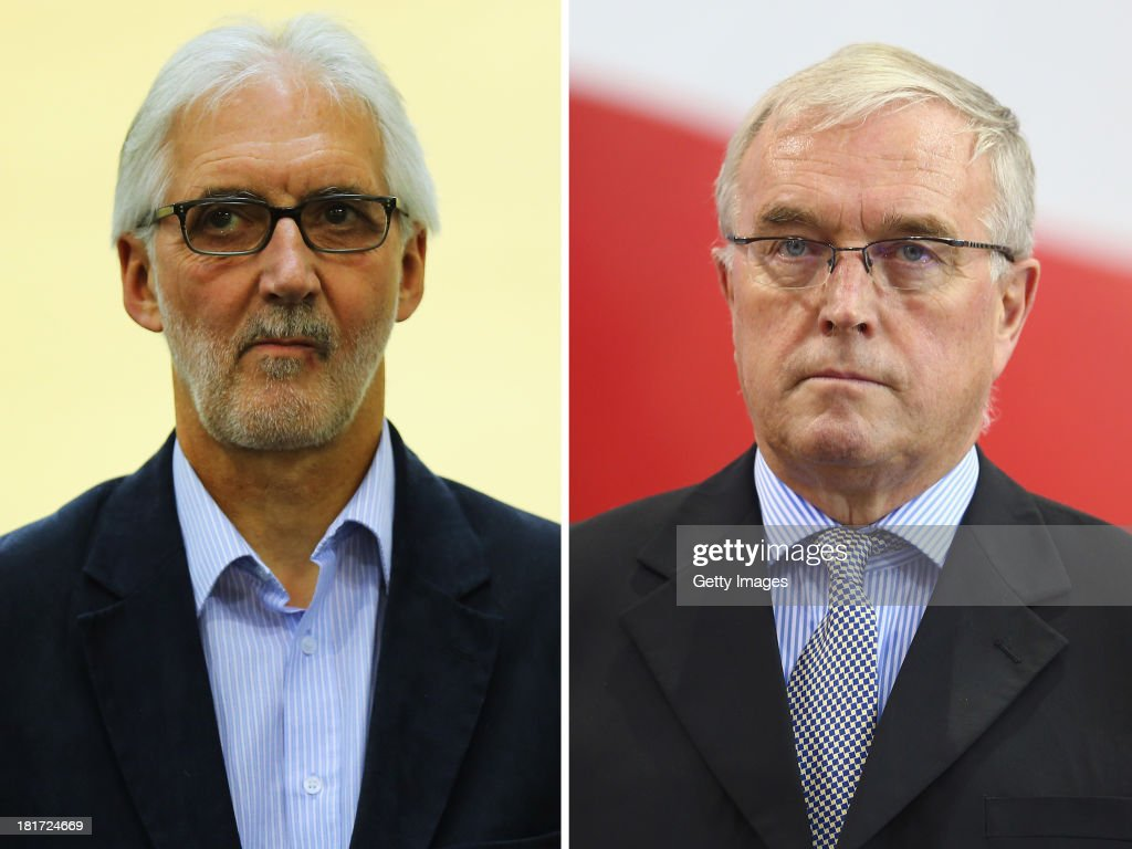 IMAGES - Image Numbers 176392653 (L) and 162201757) In this composite image a comparison has been made between Brian Cookson OBE, British Cycling President and Pat McQuaid, current President of the Union Cycliste Internationale. On 27 September, 2013, in Florence, Italy, both men will learn the outcome of their election campaign to secure the role of President of the UCI. MINSK, BELARUS - FEBRUARY 20: Pat McQuaid President of the Union Cycliste Internationale during day one of the UCI Track World Championships at Minsk Arena on February 20, 2013 in Minsk, Belarus.