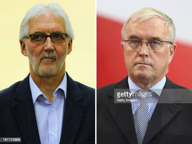 COMPOSITE OF TWO IMAGES Image Numbers 176392653 and 162201757 In this composite image a comparison has been made between Brian Cookson OBE British...