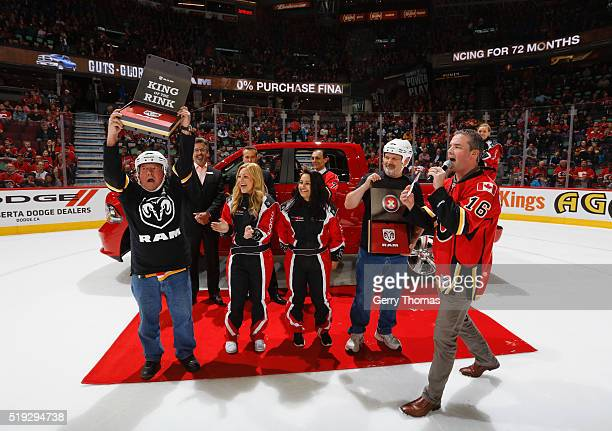 Pat Merrick is named King of the Ring during the game between the Calgary Flames and the Los Angeles King at Scotiabank Saddledome on April 5 2016 in...