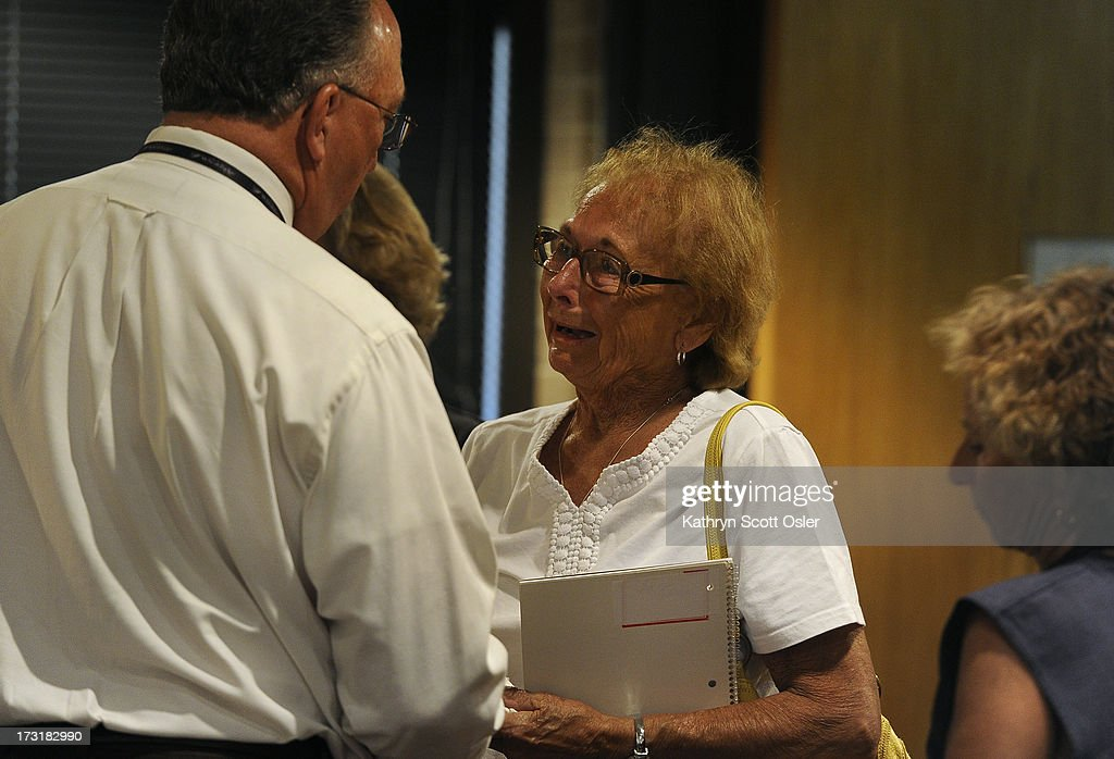 Pat Meyer, right, the mother of Leann 'Annie' Meyer, traveled from her home in Saint Peter MN, to the Wheat Ridge police station to attend a press conference to listen to information about her daughter's case. Wheat Ridge police explained further the the circumstances surrounding the discovery of and investigation in to the remains of Leann 'Annie' Meyer. Meyer's remains were discovered near a cabin in Park County on July 4, 2013.