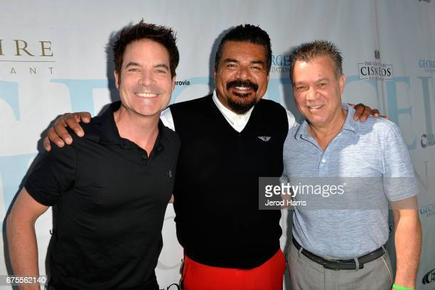 Pat Monahan George Lopez and Eddie Van Halen attend the 10th Annual George Lopez Celebrity Golf Classic at Lakeside Country Club on May 1 2017 in...