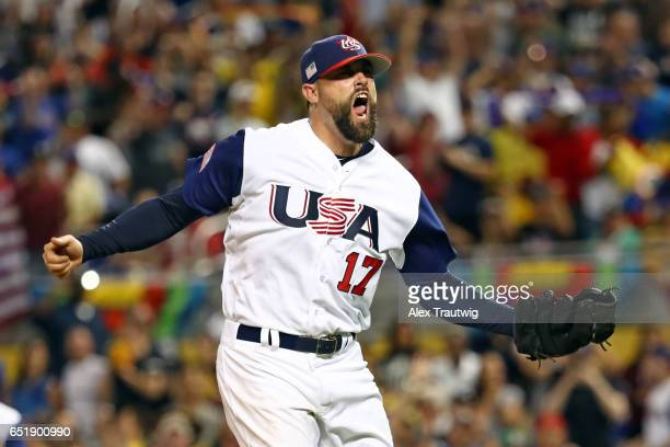 Pat Neshek of Team USA reacts to striking out Jesus Valdez of Team Colombia to end the top of the ninth inning during Game 2 Pool C of the 2017 World...