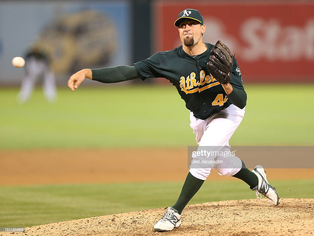 <a gi-track='captionPersonalityLinkClicked' href=/galleries/search?phrase=Pat+Neshek&family=editorial&specificpeople=743495 ng-click='$event.stopPropagation()'>Pat Neshek</a> #40 of the Oakland Athletics pitches against the Boston Red Sox during a Major League Baseball game at the O.co Coliseum on September 1, 2012 in Oakland, California.