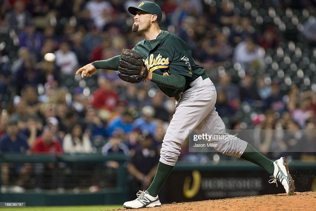 <a gi-track='captionPersonalityLinkClicked' href=/galleries/search?phrase=Pat+Neshek&family=editorial&specificpeople=743495 ng-click='$event.stopPropagation()'>Pat Neshek</a> #47 of the Oakland Athletics pitches during the eighth inning against the Cleveland Indians at Progressive Field on May 7, 2013 in Cleveland, Ohio. The Indians defeated the Athletics 1-0.