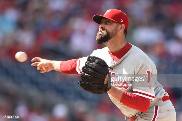 Pat Neshek of the Philadelphia Phillies pitches during the game against the Washington Nationals at Nationals Park on April 16 2017 in Washington DC...