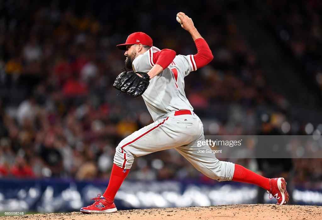 Pat Neshek #17 of the Philadelphia Phillies pitches during the seventh inning against the Pittsburgh Pirates at PNC Park on May 19, 2017 in Pittsburgh, Pennsylvania.