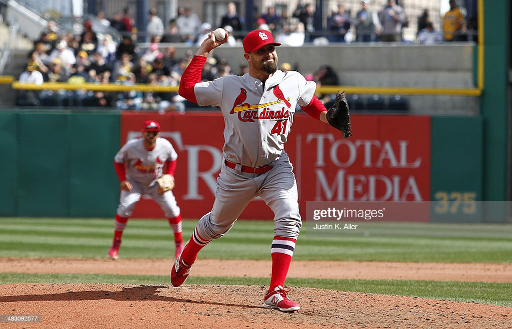 <a gi-track='captionPersonalityLinkClicked' href=/galleries/search?phrase=Pat+Neshek&family=editorial&specificpeople=743495 ng-click='$event.stopPropagation()'>Pat Neshek</a> #41 of the St. Louis Cardinals pitches in the ninth inning against the Pittsburgh Pirates during the game at PNC Park April 6, 2014 in Pittsburgh, Pennsylvania. The Pirates defeated the Cardinals 2-1.