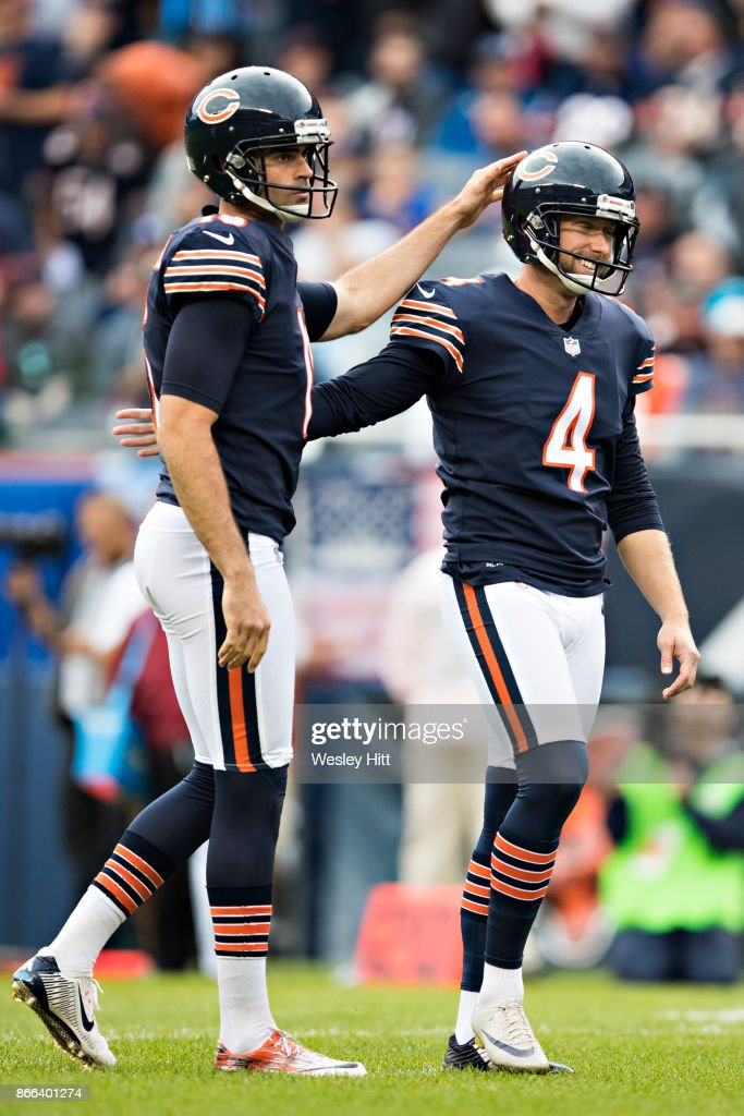 555e0a939 ... Pat ODonnell 16 congratulates Connor Barth 4 of the Chicago Bears after  ...