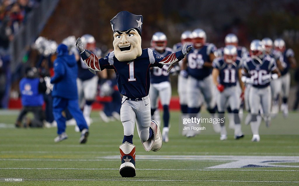 Pat Patriot, the mascot of the New England Patriots, runs onto the field before a game with Indianapolis Colts at Gillette Stadium on November 18, 2012 in Foxboro, Massachusetts.